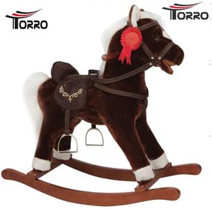 """Cavallo a Dondolo """"Bruno"""" in Legno Naturale e Tessuto Colore Marrone Scuro Movimento Bocca di Torro"""