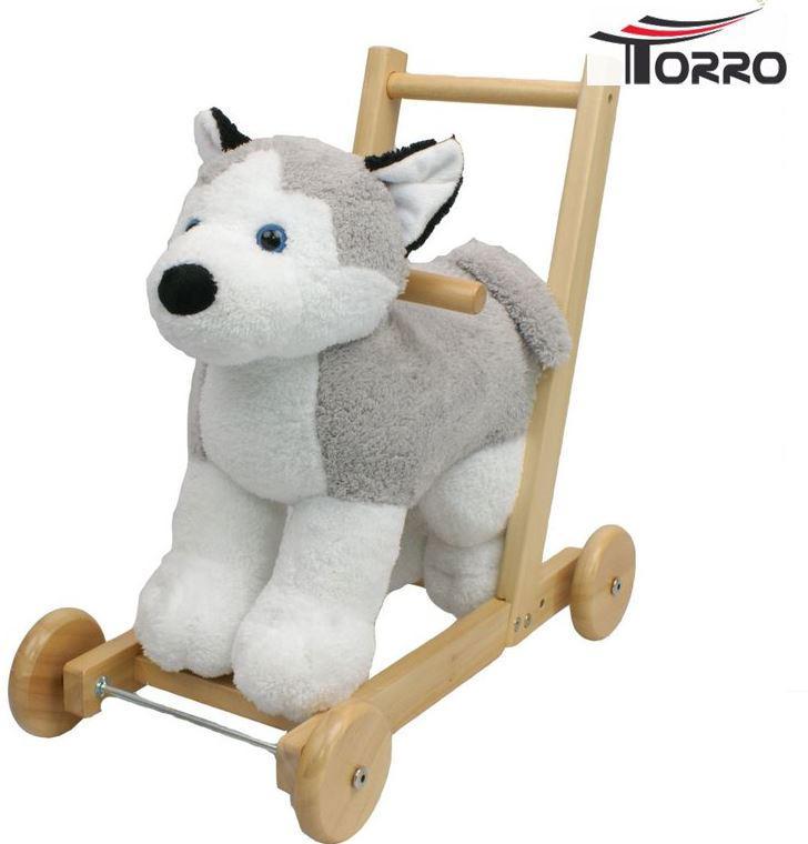 """Camminatore per Bambini """"Husky"""" Cane Bianco e Grigio con Musica di Torro"""