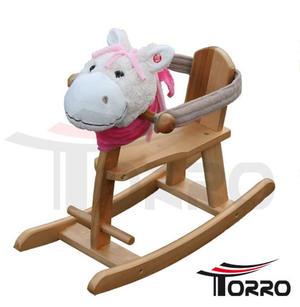 """Cavallo a Dondolo con Seduta Chiusa """"Lady Chita"""" in Legno e Tessuto di Torro"""