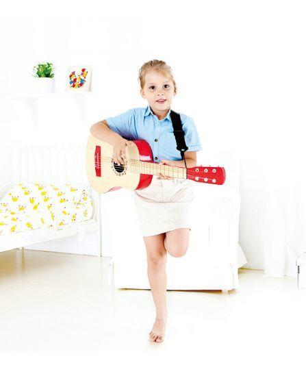 Chitarra in Legno per Bambini Colore Rosso Hape Offerta di Natale