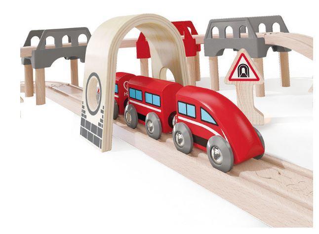 Set Ferrovia Treno su e giù in Legno Hape - Offerta di Natale