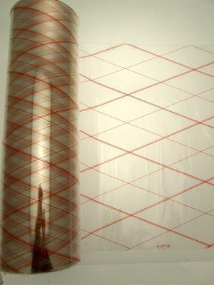 CELLOPHANE 50 CM X 200 MT - BOBINA MONOPIEGA CON RIGHE ROSSE