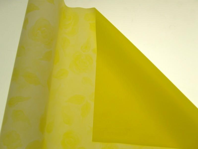 BOBINA CARTA GIALLO CON FIORI DECORATIVA CM 100 X 40 MT