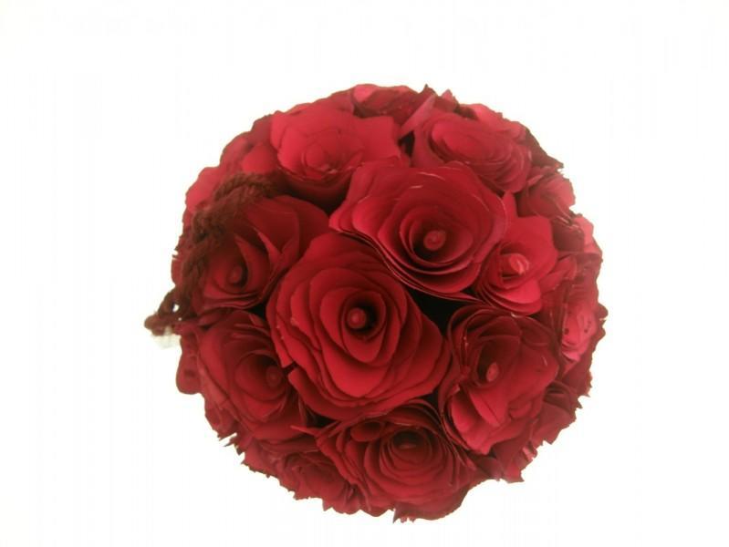 SFERA FLOREALE DI ROSE ROSSE RED - 16 CM