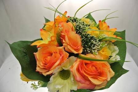 BUSH ORANGE/YELLOW -  ROSE BOCCIOLO & ANEMONI -24 FIORI - FRONTALE