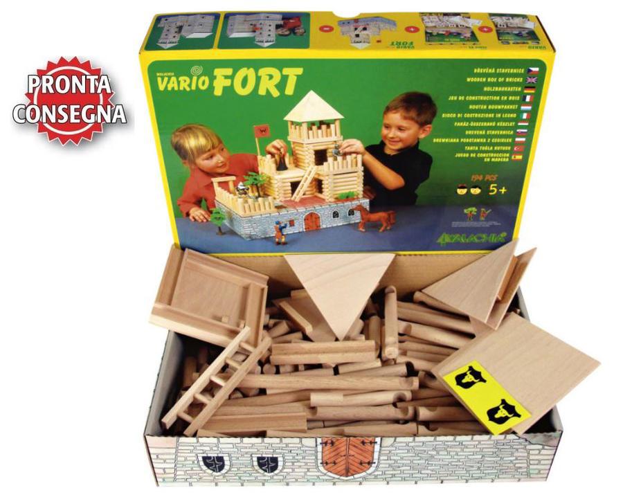"""Costruzioni in Legno Naturale per Bambini """"Il Forte"""" Kit da 194 pezzi Walachia - Offerta"""