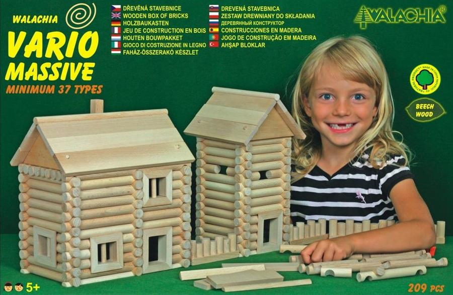 Costruzioni in Legno Naturale per Bambini Kit da 209 pezzi Walachia - Offerta di Natale