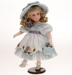 Bambola da Collezione in Porcellana con Vestito Turchese e Fiori RF Collection Qualità Made in Germany
