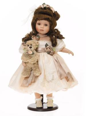Bambola da Collezione in Porcellana con Lunghi capelli e Orsetto RF Collection Qualità Made in Germany