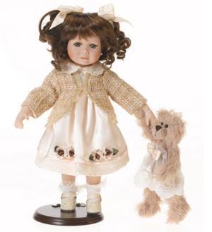Bambola da Collezione in Porcellana con Giacchino e Orsacchiotto RF Collection Qualità Made in Germany