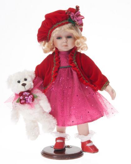 Bambola da Collezione in Porcellana con Vestito Rosso in Tulle e Orsetto RF Collection Qualità Made in Germany