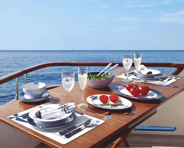 Piatto Piano Infrangibile in Melanina set 6 pezzi serie NORTHWIND di Marine Business - Offerta di Mondo Nautica 24
