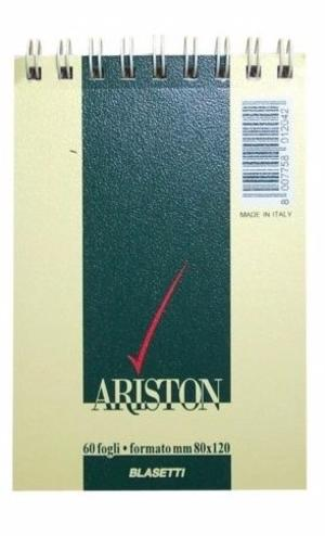 BLOCCO NOTES ARISTON CON SPIRALE FORMATO 8X12 60 FOGLI QUADRI 5 MM