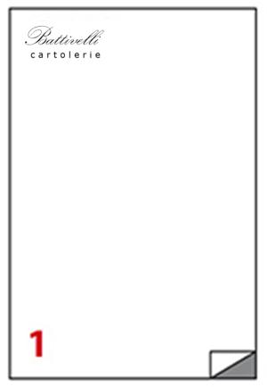 CONFEZIONE ETICHETTE IN A4 F.TO 210 x 297  100 FF - 1 PER FOGLIO - C503