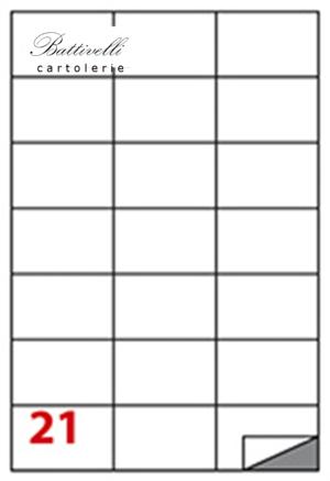 CONFEZIONE ETICHETTE IN A4 F.TO 70 x 42  100 FF - 21 PER FOGLIO - C521
