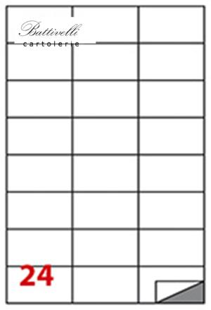 CONFEZIONE ETICHETTE IN A4 F.TO 70 x 37  100 FF - 24 PER FOGLIO - C510