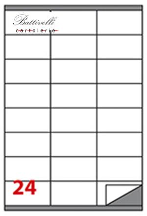 CONFEZIONE ETICHETTE IN A4 F.TO 70 x 36  100 FF - 24 PER FOGLIO - C500