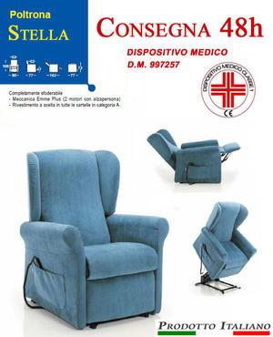 Poltrona Relax Stella Pronta Consegna Sfoderabile Due Motori con Alzapersona Tessuto Lavabile Colore Blu Consegna 48 Ore PREZZO IVA AGEVOLATA 4%