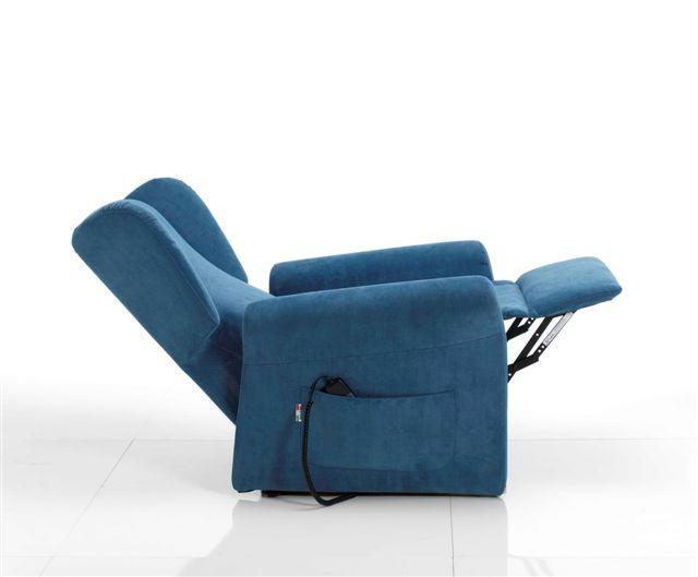 Poltrona Relax Stella Pronta Consegna completa di Alzapersona e Kit Roller 2 Motori Tessuto Lavabile Colore Blu Sfoderabile Consegna 48 Ore PREZZO IVA AGEVOLATA 4%
