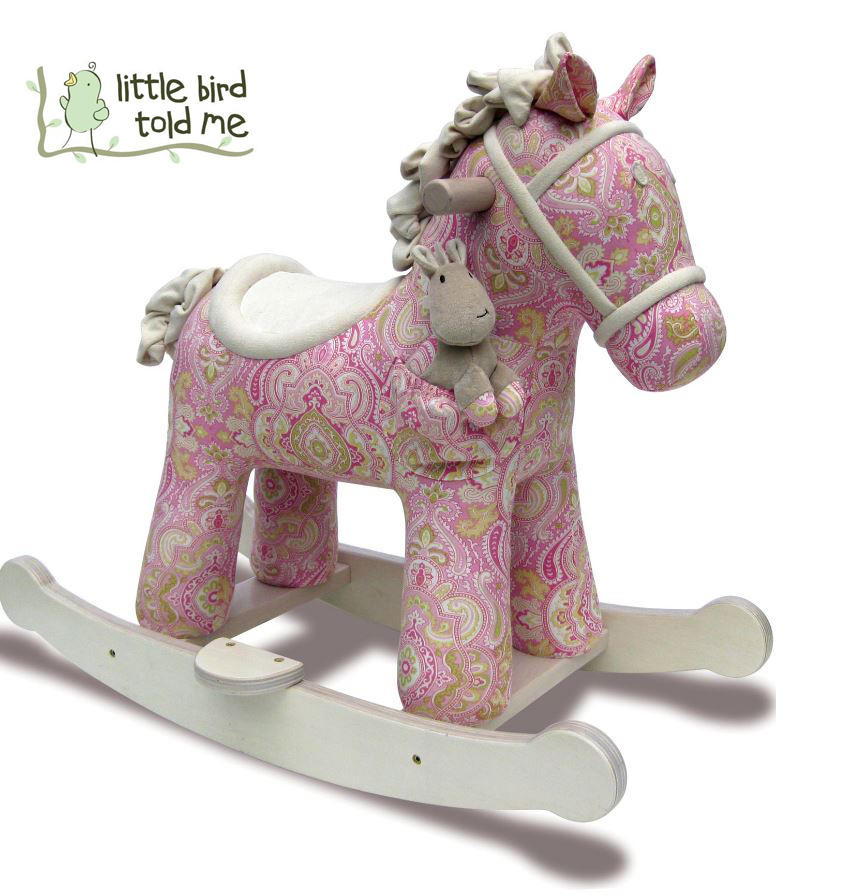 Cavallo a Dondolo Pixie e Fluff Rosa e Bianco di Little Bird Told Me