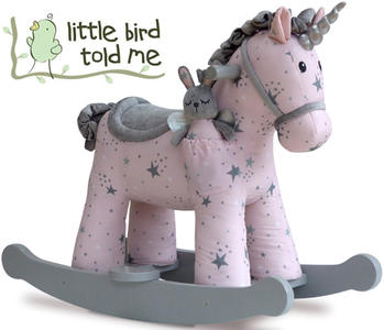 Cavallo a Dondolo Unicorno Celeste e Fae Rosa e Bianco di Little Bird Told Me