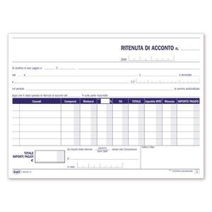 BLOCCO RITENUTA ACCONTO DUPLICE COPIA 50X2 AUTORICALCANTE - BUFFETTI 6475C0000