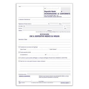 BLOCCO DICHIARAZIONE DI CONFORMITA' PER DISPOSITIVI MEDICI TRIPLICE COPIA 33X3 AUTORICALCANTE - BUFFETTI 6422D0033