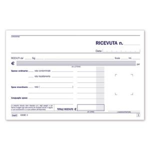 BLOCCO RICEVUTE CONDOMINIO DUPLICE COPIA 50X2 AUTORICALCANTE - BUFFETTI 6308C0000