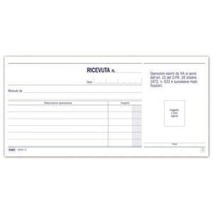 BLOCCO RICEVUTE ESENTI IVA DUPLICE COPIA 50X2 AUTORICALCANTE - BUFFETTI 6234C0000