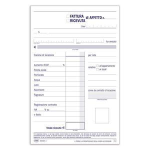 BLOCCO FATTURE / RICEVUTE DI AFFITTO DUPLICE COPIA 50X2 AUTORICALCANTE - BUFFETTI 6302C0000