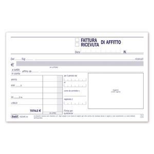 BLOCCO FATTURE / RICEVUTE D'AFFITTO DUPLICE COPIA 50X2 AUTORICALCANTE - BUFFETTI 6214C0000
