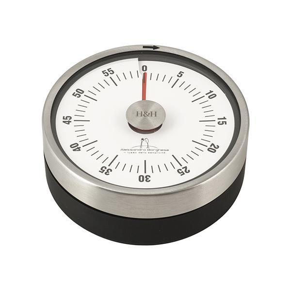 H&H Timer Da Cucina Meccanico Con Magnete 8 Cm Acciaio Inox Alessandro Borghese