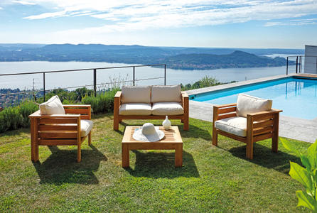 Salotto da esterno SET STROMBOLI in teak due poltrone divano e tavolino CST 01
