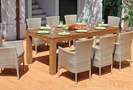 Tavolo da giardino in legno TEAK 250X100 cm PAPUA – TAVOLI MAXI IN TEAK – WRT 04