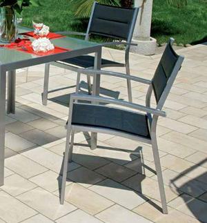 Sedia da giardino AMALFI in Alluminio e Textilene Nero imbottito Impilabile CHY01
