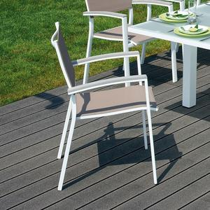 SEDIA da giardino VOLTERRA alluminio bianco braccioli in resin wood grigio sbiancato textilene grigio CHA 22