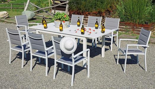 TAVOLO da giardino CAMAIORE allungabile 200 / 300 x 100 cm alluminio bianco RTA 42