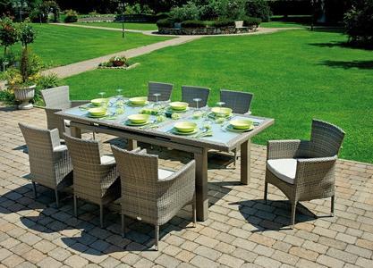 Tavolo da giardino allungabile  170/220 x 100 POITIERS ALLUNGABILE rattan wicker sintetico avana con piano in vetro RTW 82