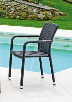 SEDIA da giardino REIMS con braccioli wicker color wengé impilabile CHW 50