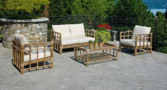 Salotto da giardino in fibra SET COIMBRA in grey kubu con  cuscini ecru PES 30