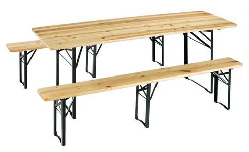 Set Birreria in legno con 3 gambe RINFORZATO 220 X 80 ALTO 75 cod SET B4