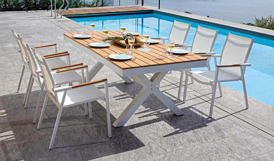 Sedia da giardino in resin wood SEDIA PAPULONIA alluminio bianco e resin wood teck CHE 36
