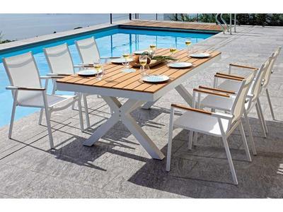 Tavolo da giardino TAVOLO BARATTI 200 X 100 cm in alluminio e paino resin wood teack RTE 58