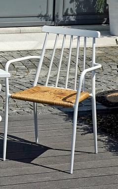 Sedia da giardino SEDIA FINALE LIGURE in alluminio bianco e paglia CHA 43