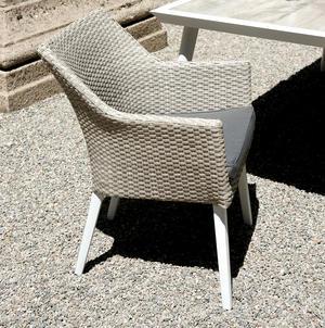 Poltroncina da giardino POLTRONCINA BOCCADASSE in alluminio bianco e rattan grigio CHA 39