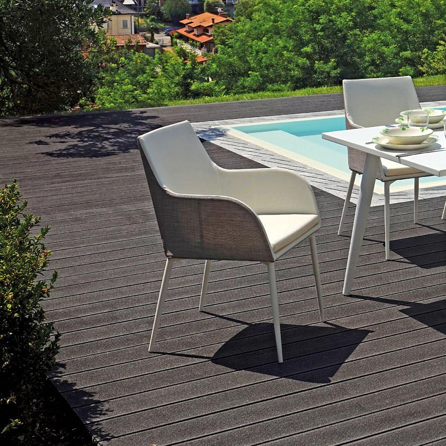 Poltroncina da giardino POLTRONCINA VOLTRI alluminio bianco textilene bianco grigio CHA 42