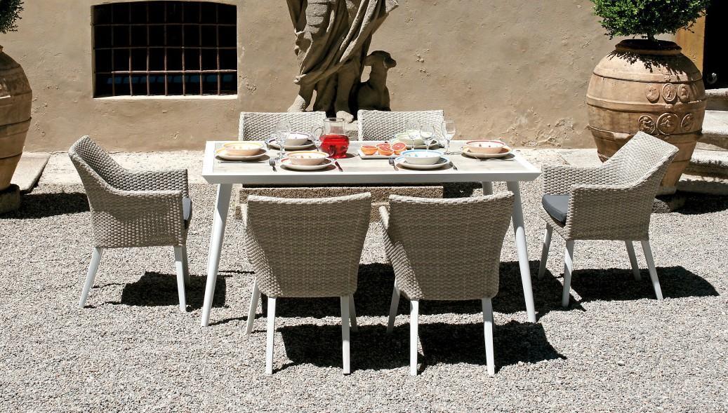 Tavolo Da Giardino Bianco.Tavolo Da Giardino Pranzo Marassi 160 90 Cm Dining Set In