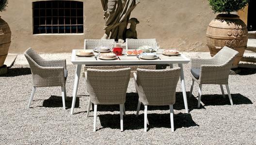 Tavolo da giardino pranzo MARASSI 160×90 cm in alluminio bianco con piano bachelite RTA 38