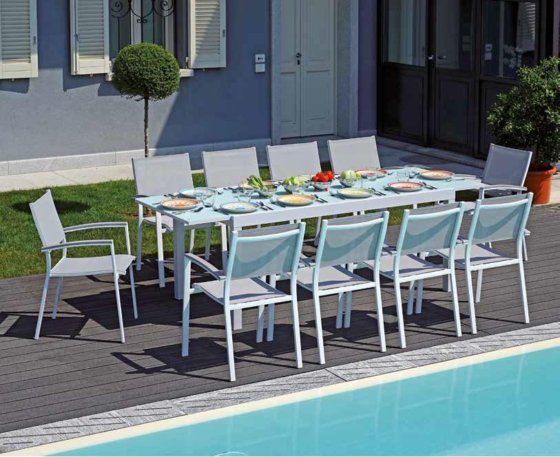 Tavolo da giardino pranzo TAVOLO PIETRA LIGURE ALLUNGABILE cm 180/240 x 90 cm alluminio RTA 39
