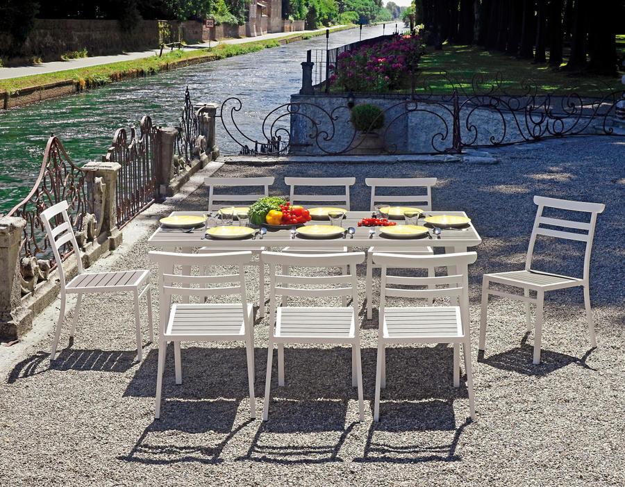 Tavolo da giardino pranzo TAVOLO CERIALE 180 X 90 in alluminio e piano effetto legno grigio RTA 45